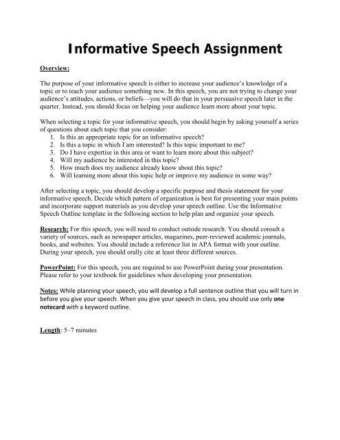 Informative Speech Assignment - Fountainhead Press