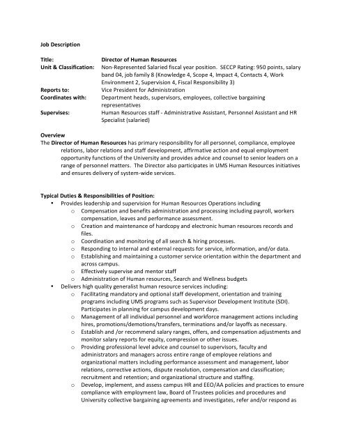 HR Director Job description