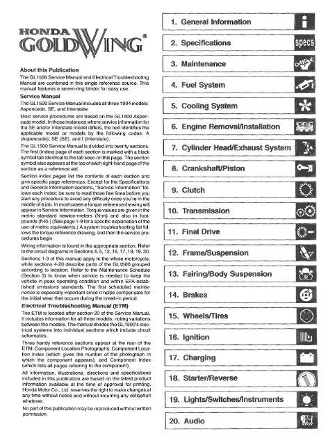 1994 Honda Goldwing GL1500 Service Manualpdf