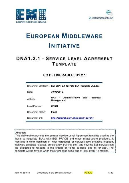 DNA121 - Service Level Agreement Template - CERN Document