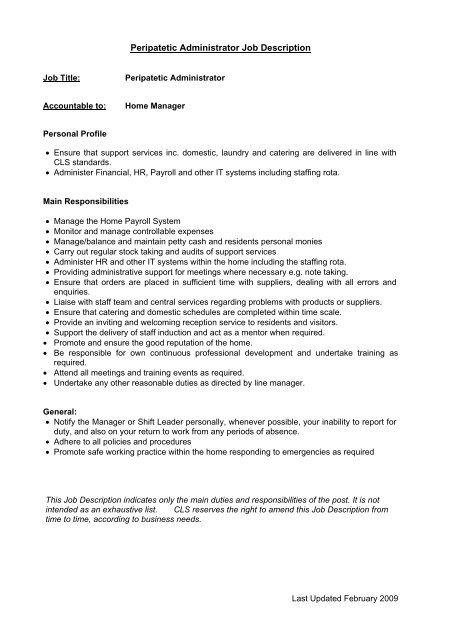 Home Services Manager Job Description - CLS Care Services
