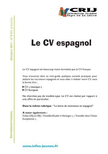 cv et lettre de motivation en espagnol