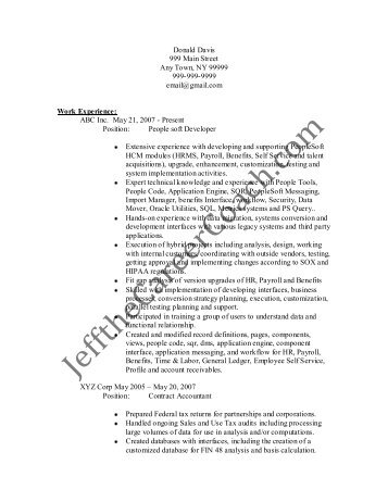 people soft consultant resume senior peoplesoft consultant resume