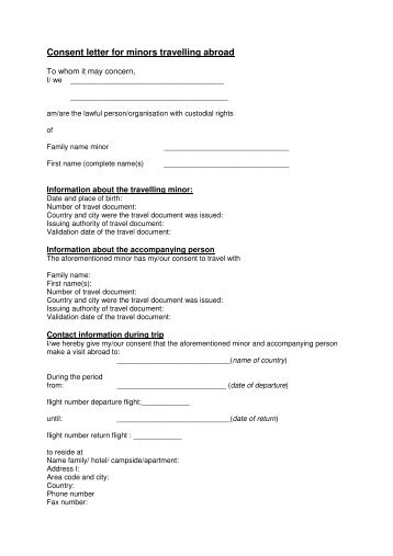 Child Travel Consent Form Create a Letter of Consent - oukasinfo - child travel consent form usa