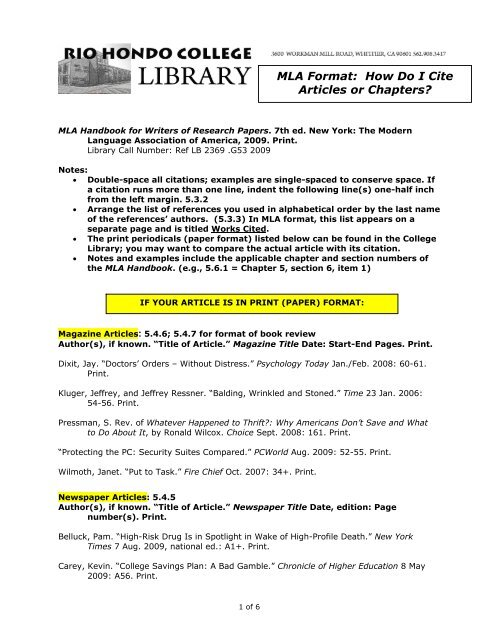 MLA Format How Do I Cite Articles or Chapters? - Rio Hondo