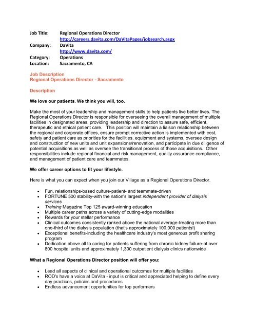 Job Title Regional Operations Director   careers - Students