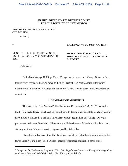 Vonage Motion to Dismiss NM PRC State Universal Service Complaint