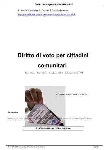 Soggiorno In Italia Di Cittadini Comunitari