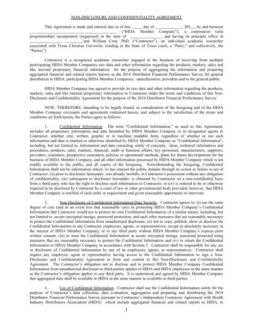 NON-DISCLOSURE AND CONFIDENTIALITY AGREEMENT - Hida