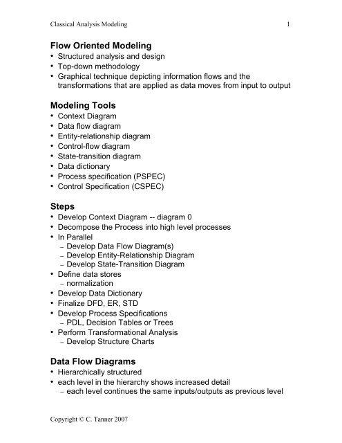 Flow Oriented Modeling Modeling Tools Steps Data Flow Diagrams