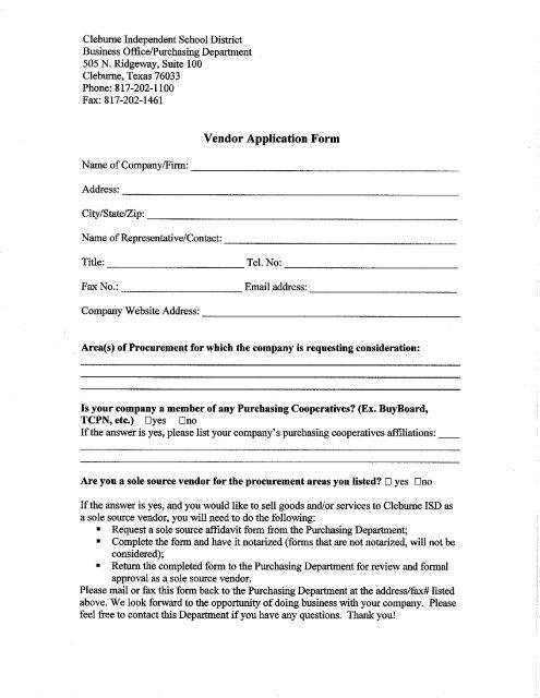 Vendor Request Formpdf - Cleburne Independent School District