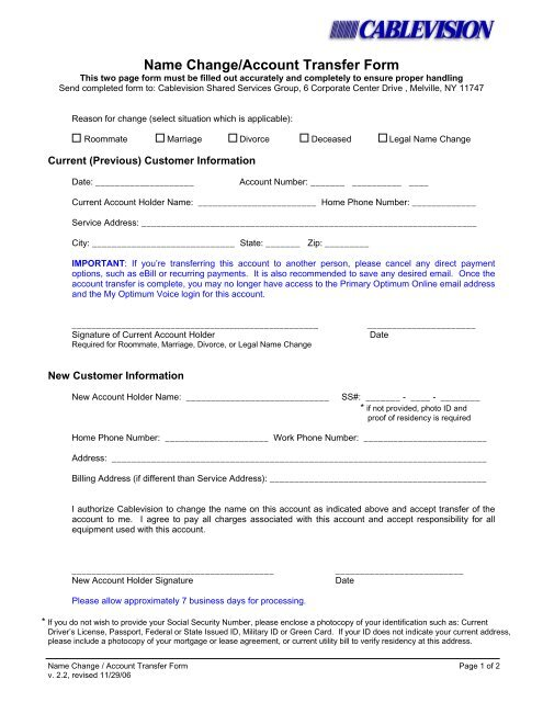 Name Change/Account Transfer Form - Optimum
