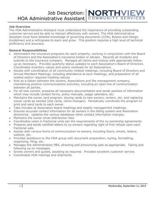 Job Description HOA Administrative Assistant - Eagle Crest Resort