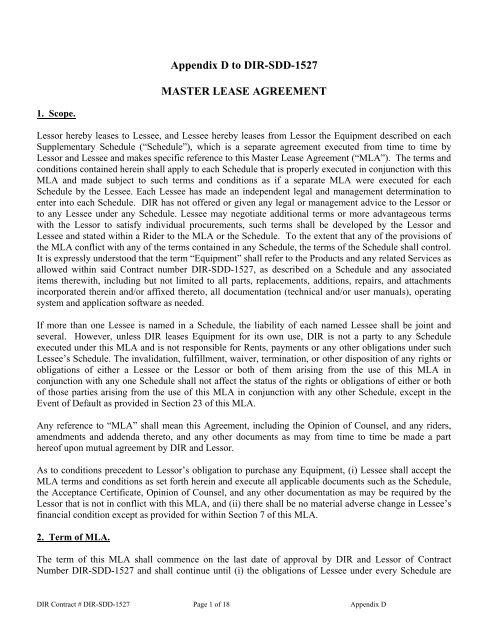Appendix D, Master Lease Agreement
