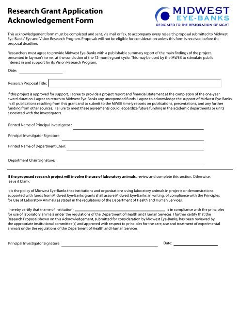 Research Grant Application Acknowledgement Form - Midwest Eye