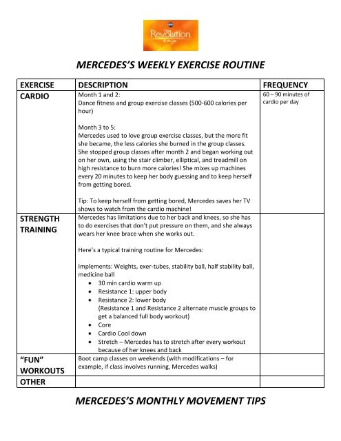mercedes\u0027s weekly exercise routine mercedes\u0027s monthly movement