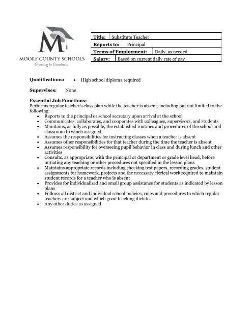 Job Description - Substitute Teacher - Moore County School System