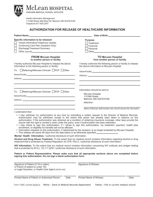 McLean Hospital Authorization For Release of Medical Records Form