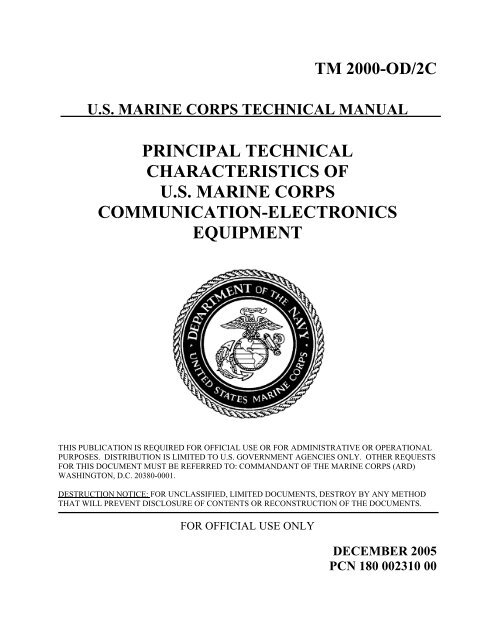 principal technical characteristics of us marine corps communication
