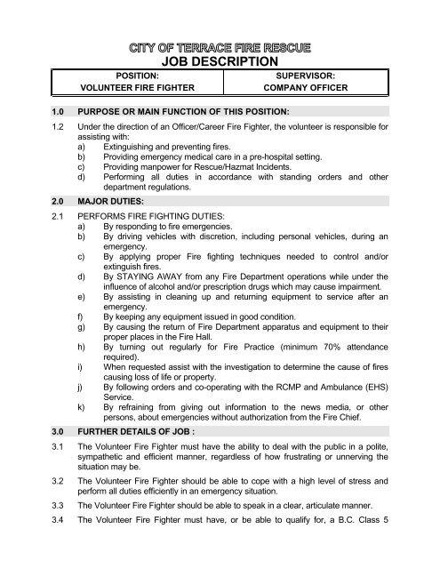 Job Description - Volunteer Firefighterfirefighter resume objective
