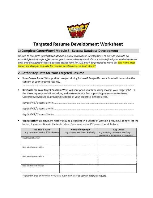 Targeted Resume Development Worksheet - Training and
