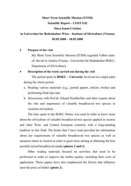 Short Term Scientific Mission (STSM) Scientific Report - valbrode