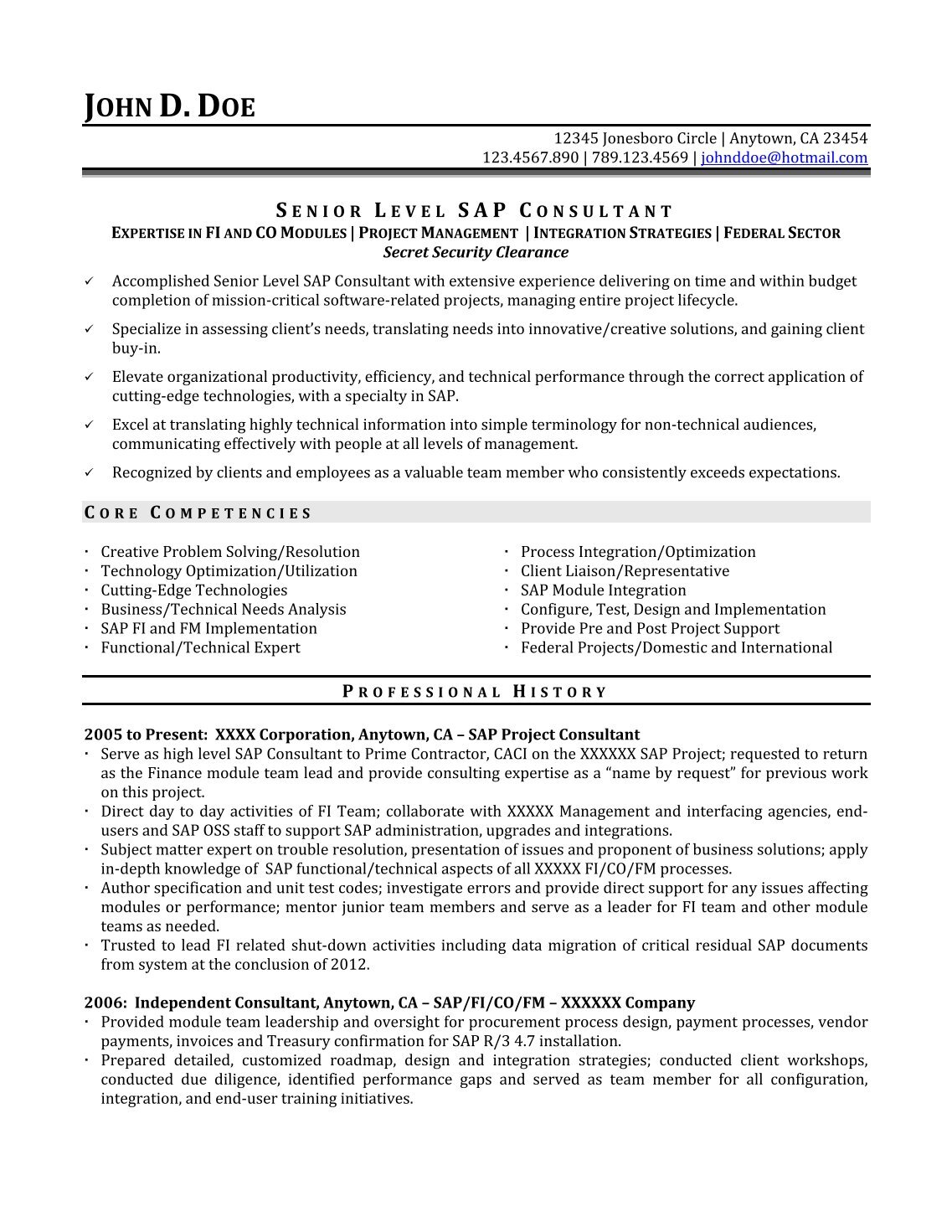 sap hr functional resume sample