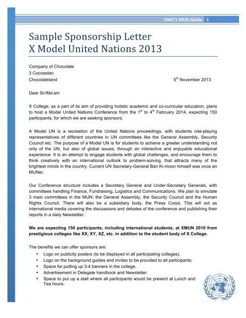 Sample Sponsorship Letter X Model United Nations 2013 - UNICs