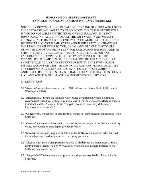 wowza media server software end user license agreement (â\u20acœeulaâ\u20ac )