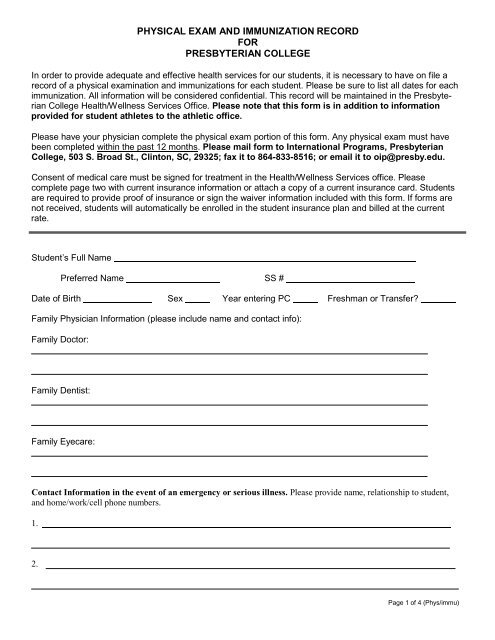 Physical Exam and Immunization Record Form - Presbyterian College