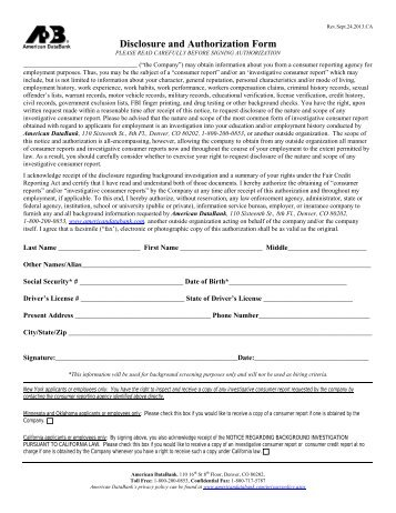 Fcra Background Check Disclosure Form | Internship Cover Letter ...