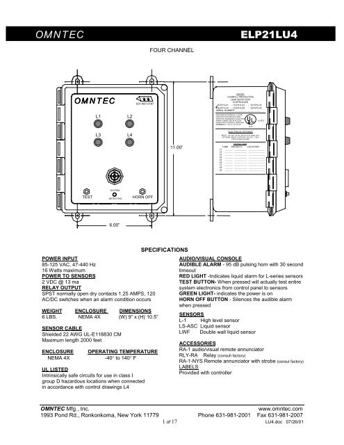 LU4 Wiring Diagram  Dimensions - Omntec Manufacturing Inc
