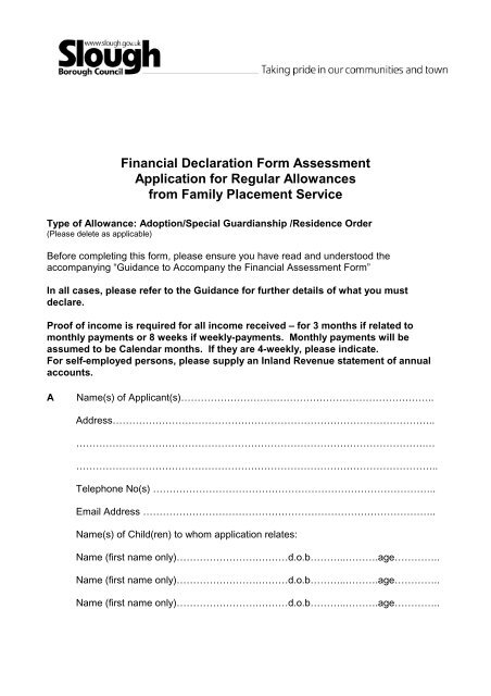 Financial Assessment Form - Slough Children\u0027s Services