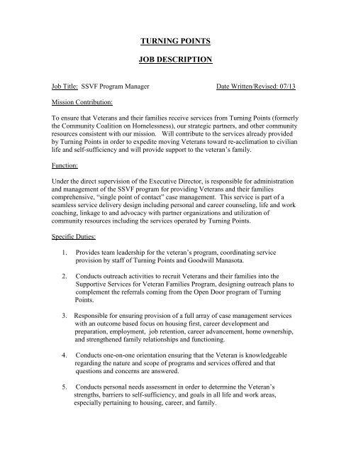 Job Description \u2013 SSVF Program Manager - Turning Points