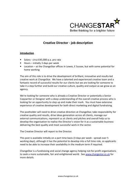 Creative Director - job description - Changestar
