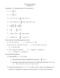 MATH 171 - Derivative Worksheet Differentiate these for ...