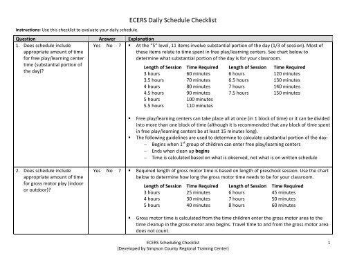 ECERS Daily Schedule Checklist - Calloway County Schools