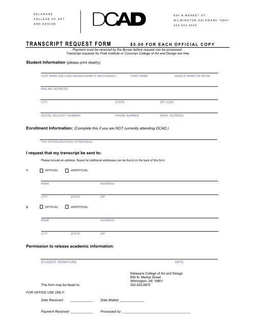 TRANSCRIPT REQUEST FORM - Delaware College of Art and Design
