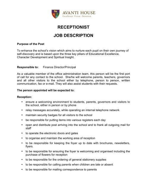 RECEPTIONIST JOB DESCRIPTION - Avanti Schools Trust