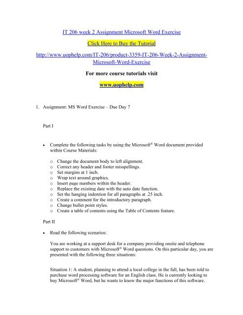 IT 206 week 2 Assignment Microsoft Word Exercise/uophelp
