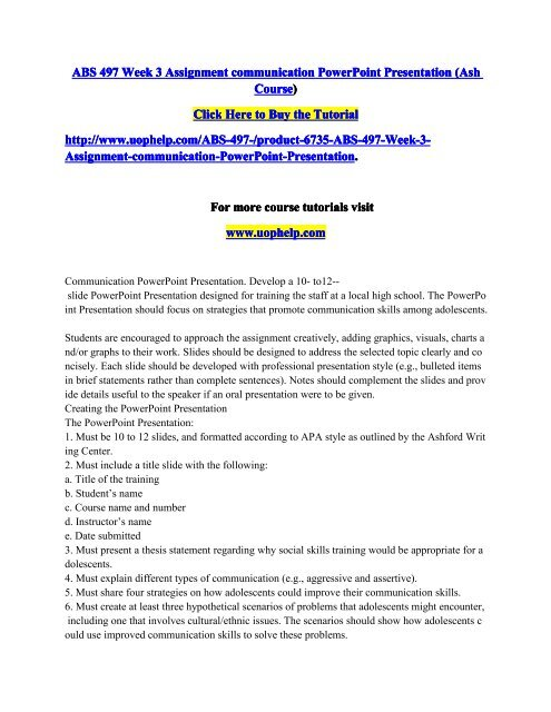 ABS 497 Week 3 Assignment communication PowerPoint Presentationpdf