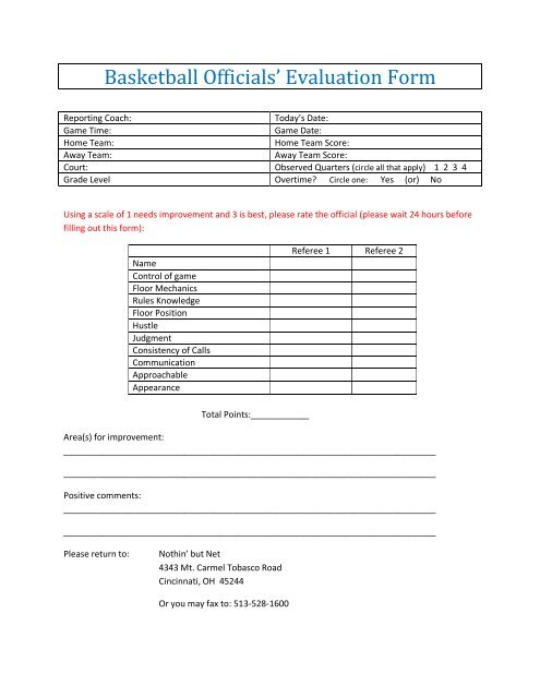 Basketball Officials\u0027 Evaluation Form