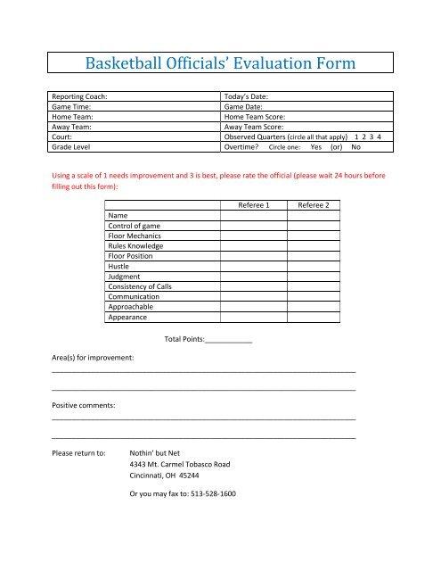 Basketball Officials\u0027 Evaluation Form
