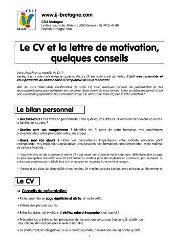 le cv et la lettre de motivation