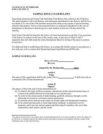club bylaws template - Roho4senses