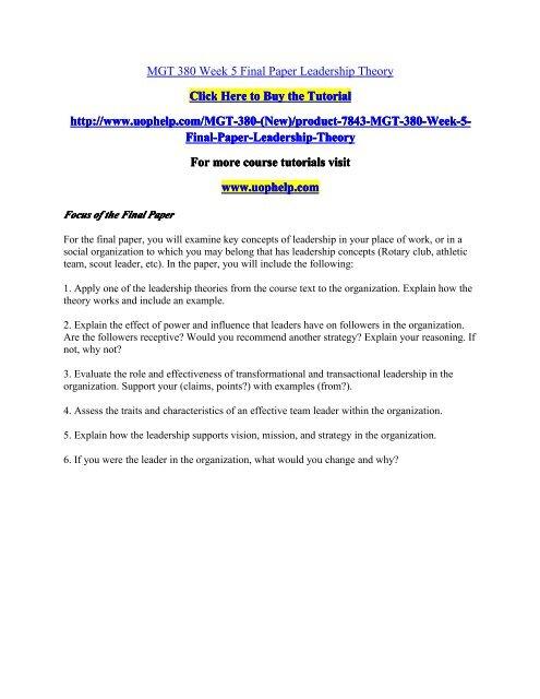 MGT 380 Week 5 Final Paper Leadership Theorypdf