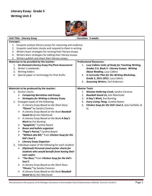 Literary Essay Grade 5 Writing Unit 2