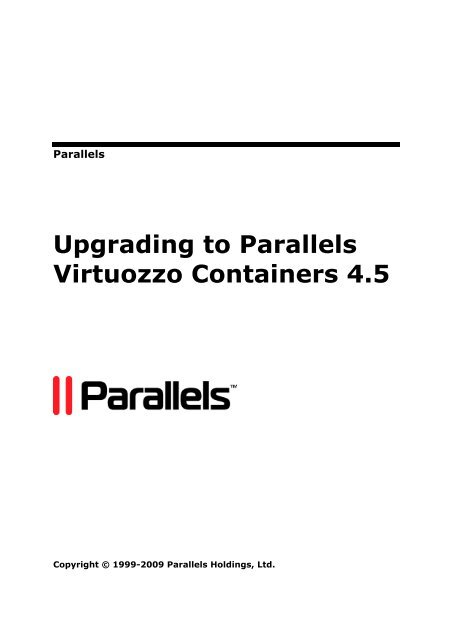 Upgrading to Parallels Virtuozzo Containers 45