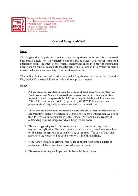 Policy 04 - Criminal Background Check - College of Traditional