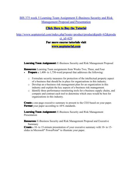BIS 375 Week 5 Learning Team Assignment E-Business Security and Risk